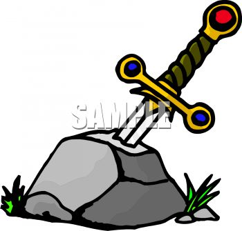 350x335 Cartoon of Excalibur Stuck in the Stone