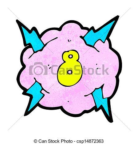 449x470 Cartoon Lightning Storm Cloud Symbol With Number Eight Clip Art