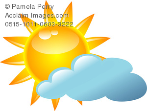 300x227 Clip Art Image Of A Sun Peeking Out From Behind A Cloud