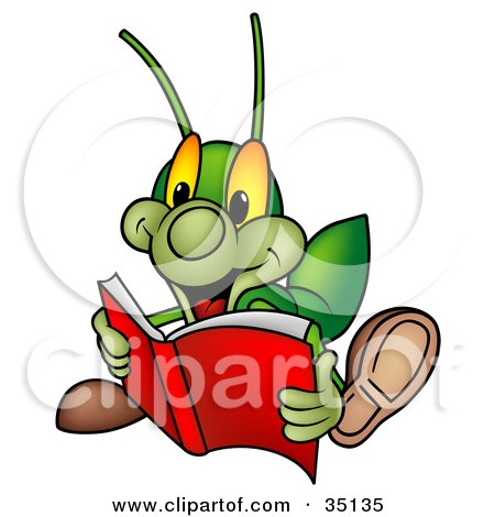 450x470 Clipart Illustration Of A Green Cricket Reading An Exciting Story