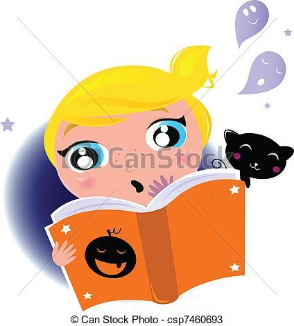 424x470 Cute Little Kid Reading Halloween Story Book Little Girl