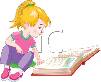 350x285 Royalty Free Clip Art Image Cute Little Girl Reading A Storybook