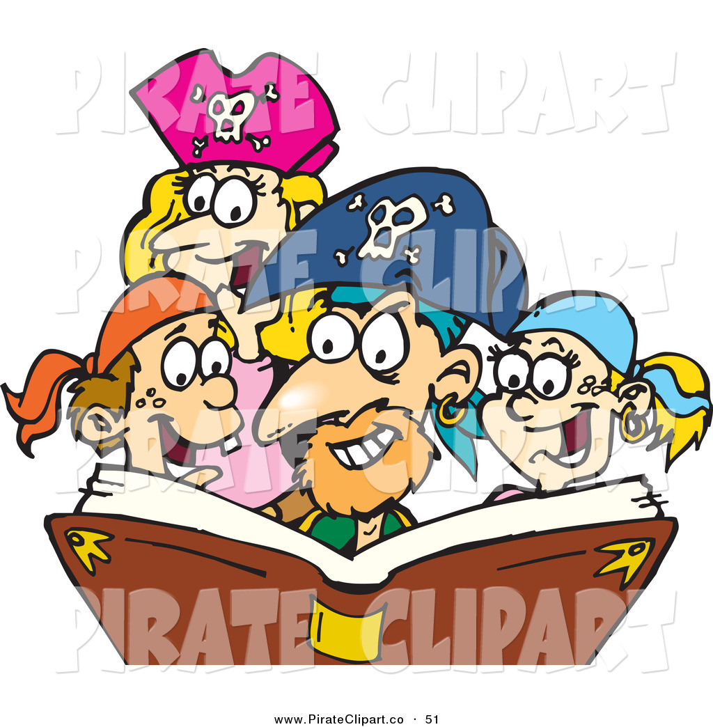 1024x1044 Vector Clip Art Of A Caucasian Family Dressed As Pirates, Reading
