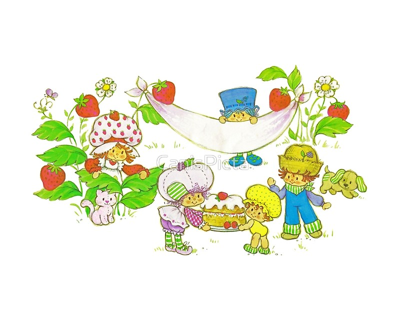 800x640 Picnic With Strawberry Amp Friends Vintage, Card, Inspired, Retro
