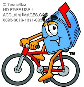 289x300 Stock Illustration Of A Mail Box Cartoon Character Riding A Bike