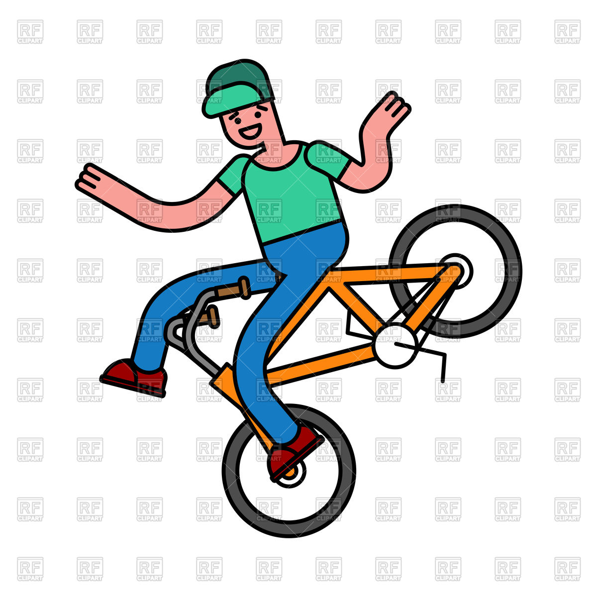 1200x1200 Tricks On Bicycle. Guy On Bike. Royalty Free Vector Clip Art Image
