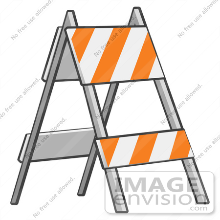 450x450 Clip Art Graphic Of A Barricade With Orange And White Stripes