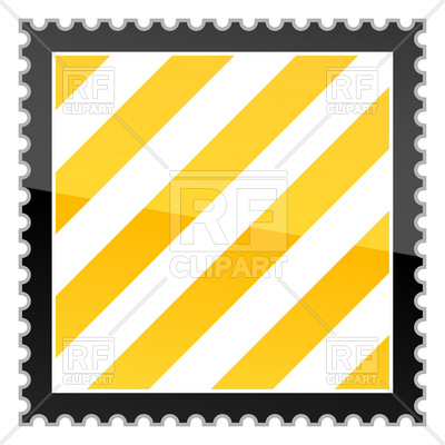 400x400 Postage Stamp Hazard Stripes Glossy Two Royalty Free Vector Clip