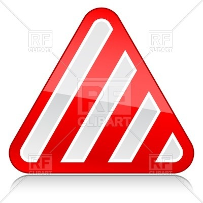 400x400 Three Cornered White Road Sign With Red Diagonal Stripes Royalty