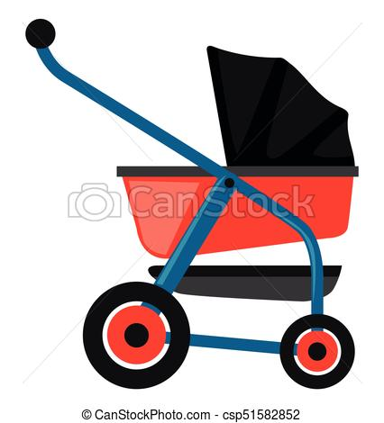 426x470 Baby Stroller In Red And Blue Illustration Clipart Vector