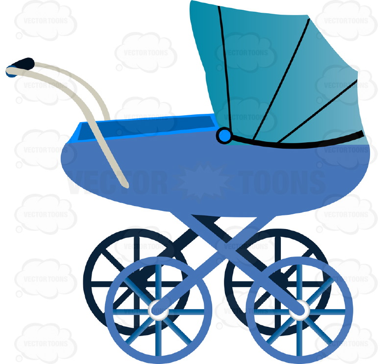 800x742 Blue Four Wheel Old Fashioned Covered Baby Buggy Carriage