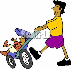 300x290 Clip Art Image A Man Pushing A Child In A Stroller