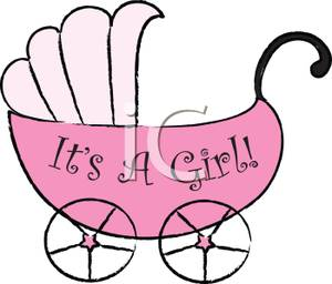 300x256 Clip Art Image A Pink Stroller With It's A Girl Text