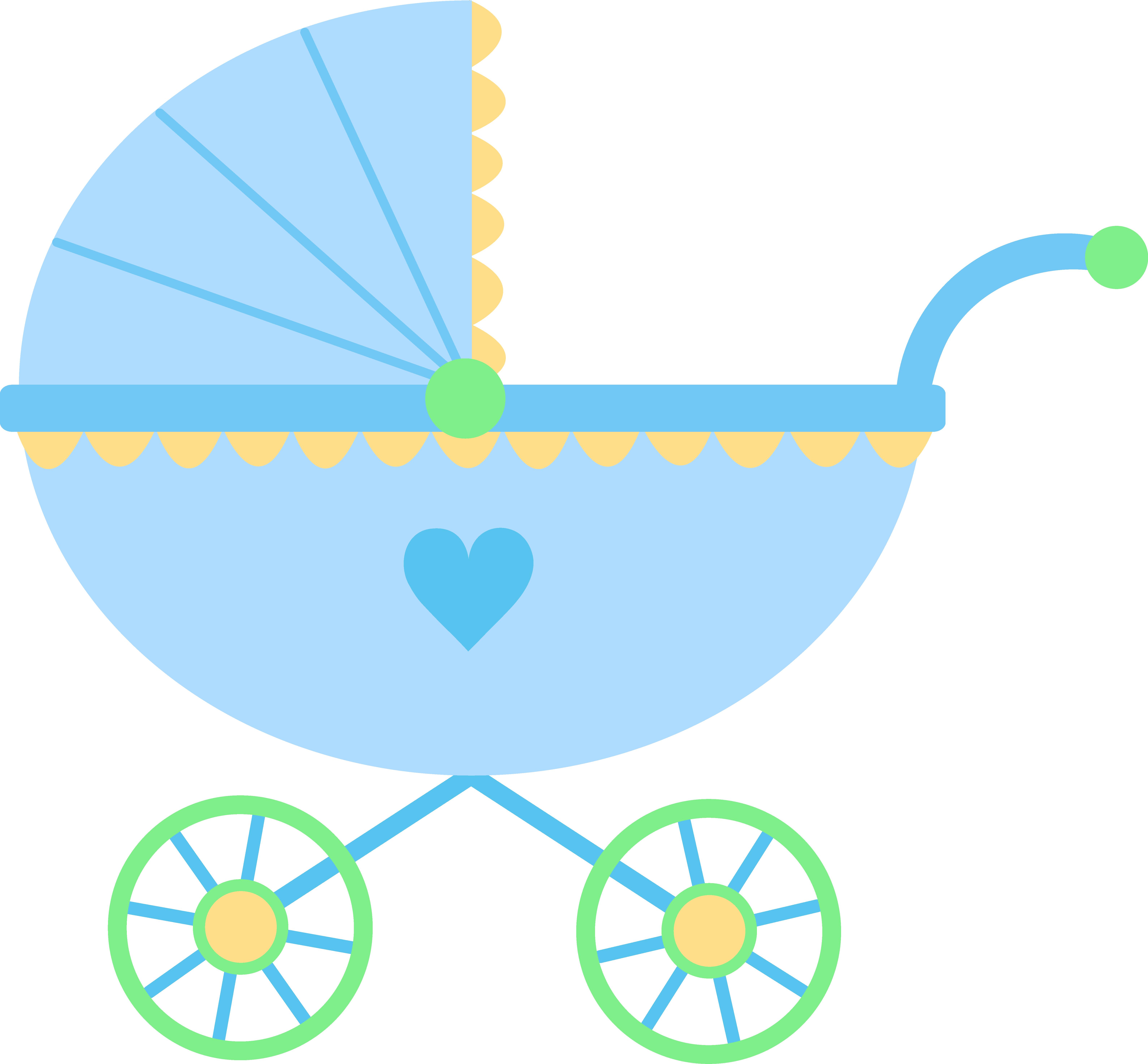 6355x5889 Cute Blue Baby Carriage