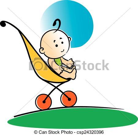 450x441 Cute Little Baby Sitting In A Stroller. Cute Cartoon Little Eps