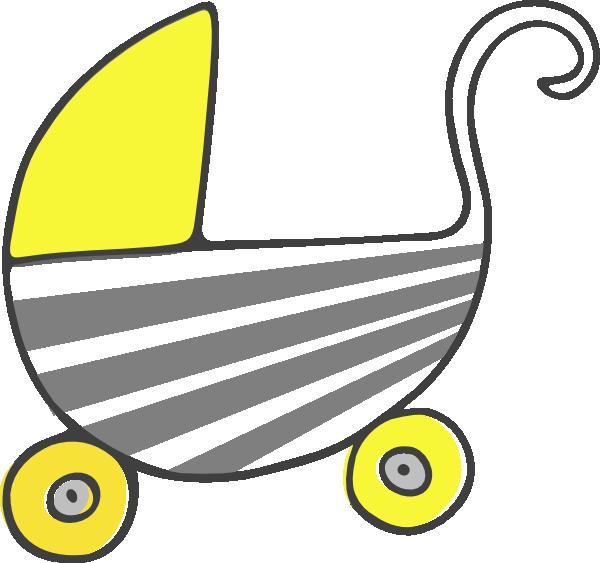 600x563 Gray Yellow Stroller Clip Art