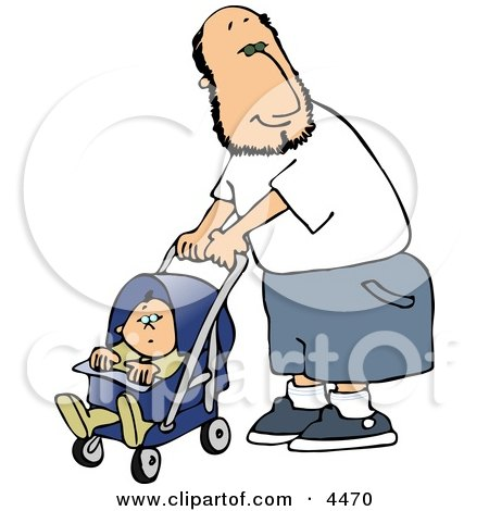 450x470 Happy Single Father Pushing His Baby Boy In A Stroller Clipart By