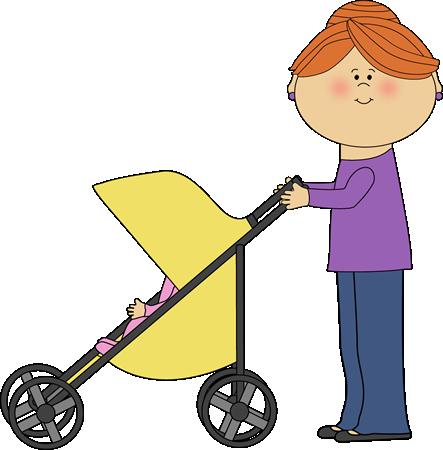 443x450 Mom Pushing Baby Stroller Clip Art Image