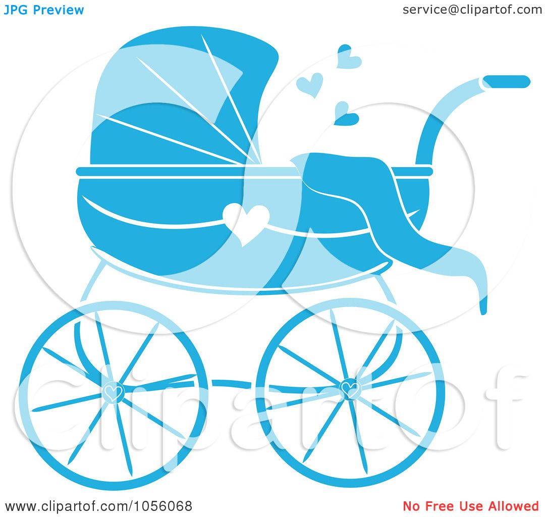 1080x1024 Royalty Free Vector Clip Art Illustration Of A Blue Baby Carriage