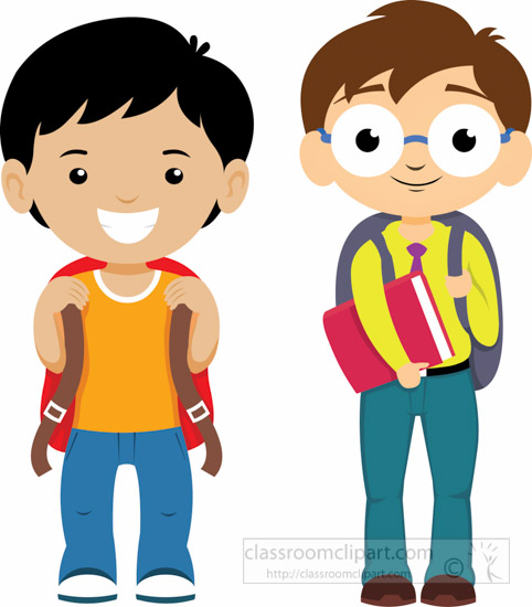 482x550 Student Clipart School Clipart Two Student With Backpacks Ready