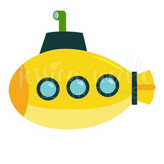 570x570 Yellow Submarine Cute Digital Clipart, Submarine Clip Art