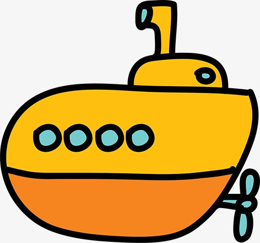 512x479 Cartoon Submarine, Hand Painted, Cartoon, Submarine Png Image