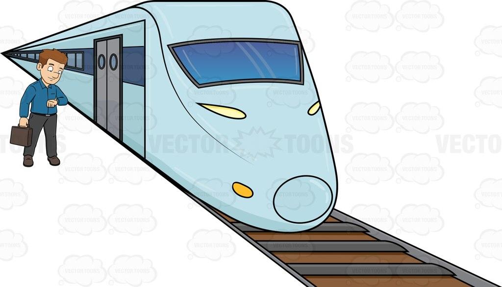 1024x586 A Man Waiting For The Bullet Train Cartoon Clipart Vector Toons