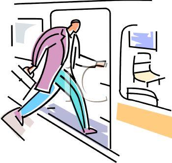 350x333 Businessman Boarding A Subway Car