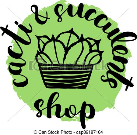 450x442 Brush Lettering Label For Cacti And Succulent Shop With Hand