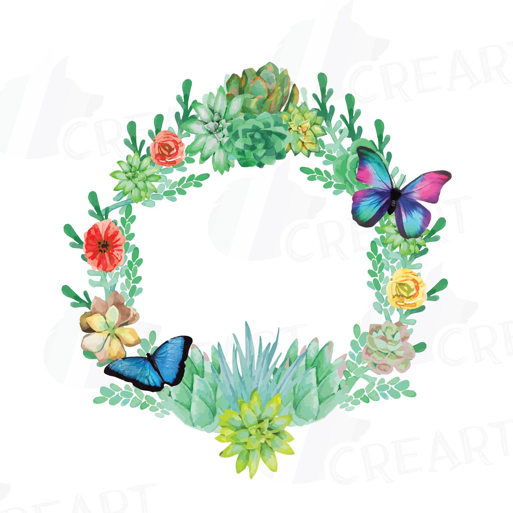 1667x1667 Watercolor Succulent Wreath, Valentine Design Bundles