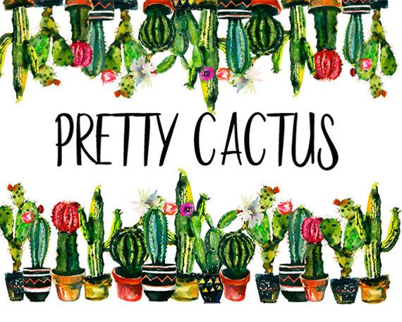 570x456 Cactuc Watercolor Clip Art Border Photo Frame Succulents