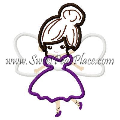 400x400 Dolls, Sugar Plum Fairy Applique Embroidery Design, Sweet Peas Place