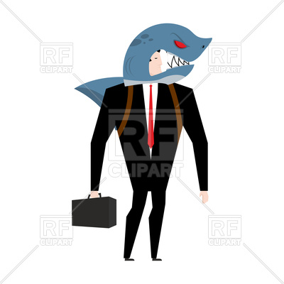400x400 Businessman In Suit Of Shark. Allegory Of Business Shark. Royalty