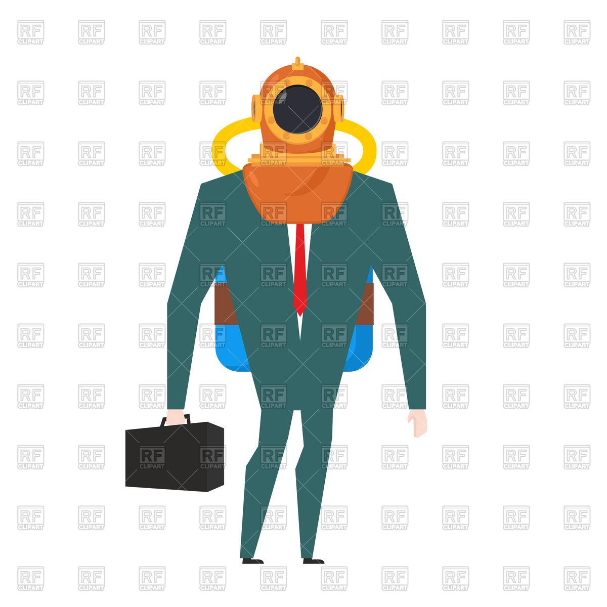 1200x1200 Businessman Is Diver Suit Royalty Free Vector Clip Art Image