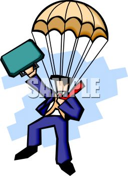 255x350 Clip Art Illustration Of A Businessman Skydiving In His Suit,