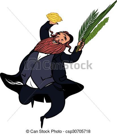 413x470 Funny Cartoon Jewish Man Dancing Wiht Ritual Plants For Vector
