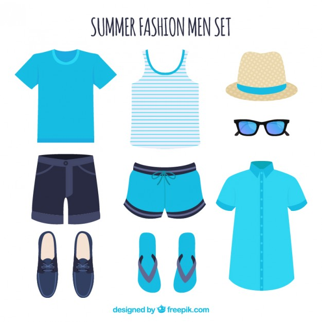 626x626 Set Of Summer Clothes For Man Vector Free Download