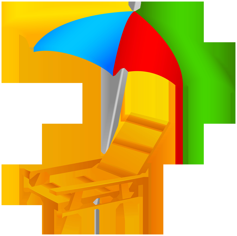 6000x5958 Beach Umbrella And Chair Png Clip Art