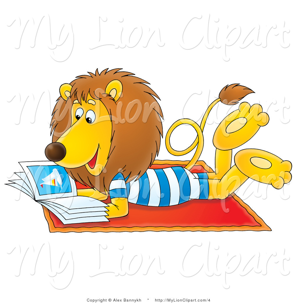 1024x1044 Lion Clipart of a Summer Lion Reading a Book on a Beach Towel by