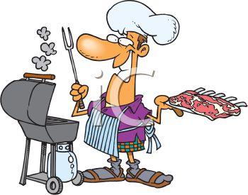 350x275 Summer Cartoon Of A Dad Barbecuing Ribs Outside