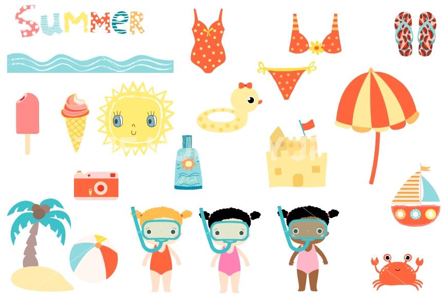 870x579 Cute Summer Clipart Set, Beach Holiday Clip Art, Sun, Snorkel Girl