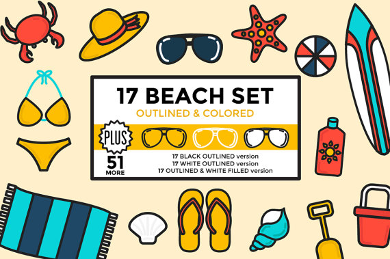 570x379 Beach Clipart Summer Vacation Set Outlined