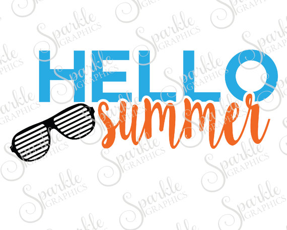 570x456 Hello Summer Cut File Summer Svg Hello Beach Sun Glasses Summer
