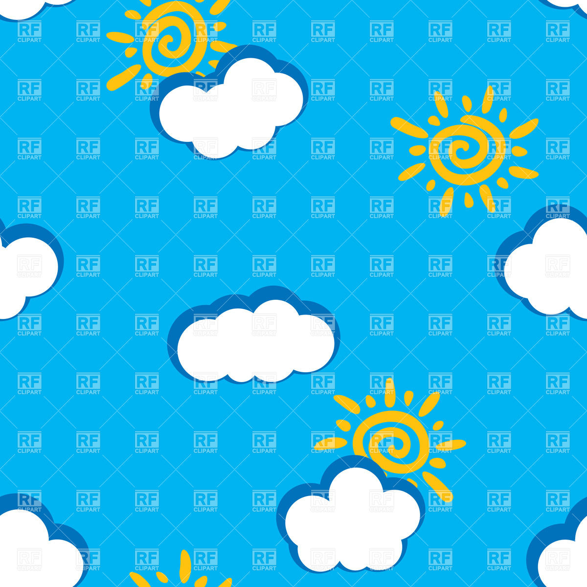 1200x1200 Seamless Background With Cartoon Sun And Clouds Royalty Free