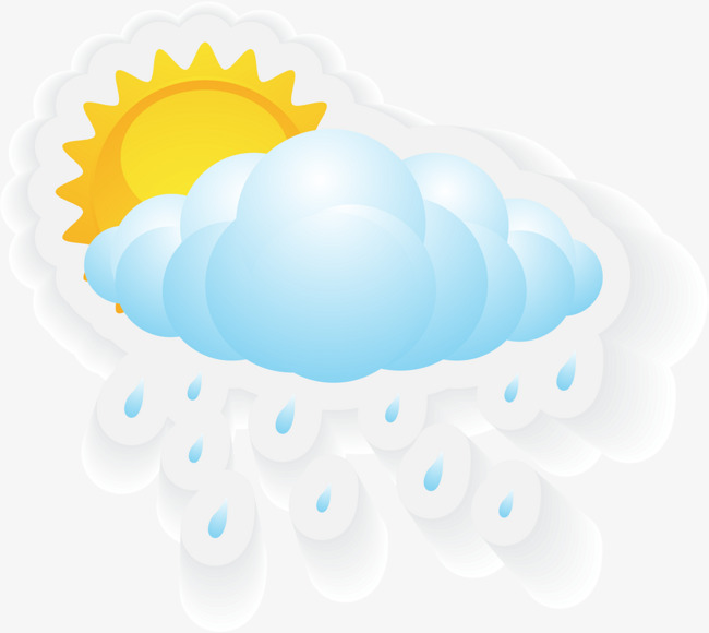 650x580 Blue Cartoon Sun Rain, Blue Sun Rain, The Rain Clouds, Decorative