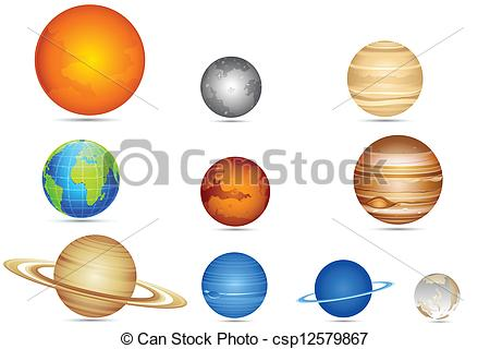 450x320 Illustration Of Set Of Planets With Sun And Moon Clip Art Vector