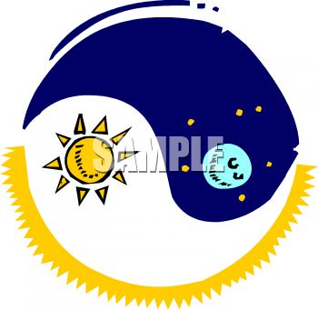 350x341 Royalty Free Clip Art Image Ying Yang With Sun And Moon