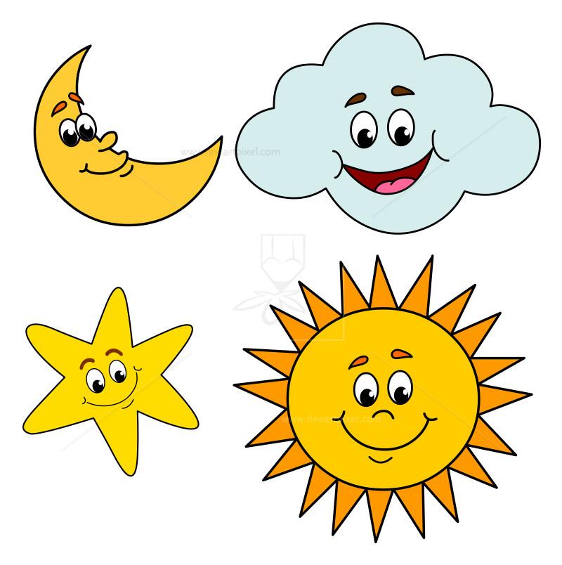 800x804 Sun ,moon,cloud And Star Clip Art Free Vectors, Illustrations