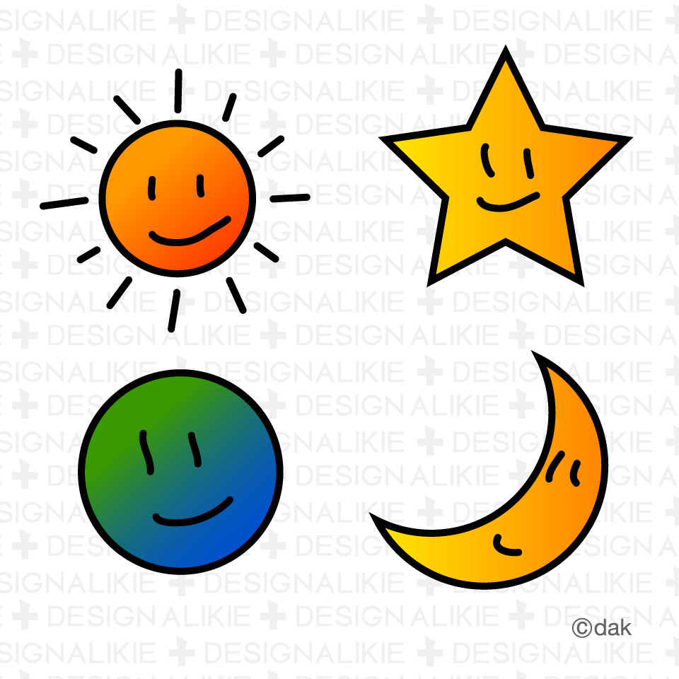 960x960 Sun Moon Star And Cloud Set Vectors Search Clip Art Illustration