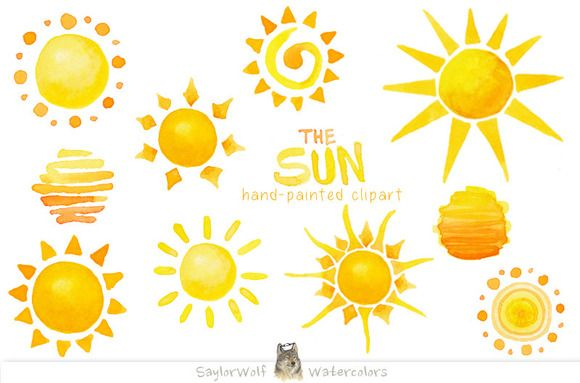 580x383 Watercolor Sun Clip Art By Saylorwolf Watercolors On Creative